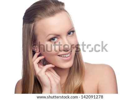 blond woman with long hair - stock photo