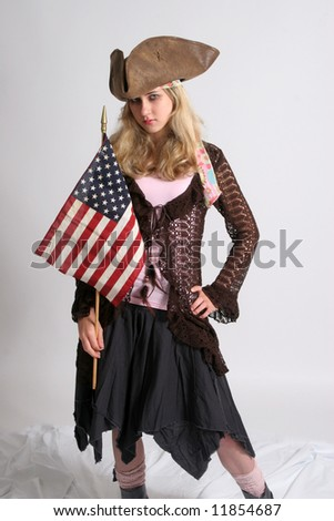 Blond woman with US flag and try cornered hat