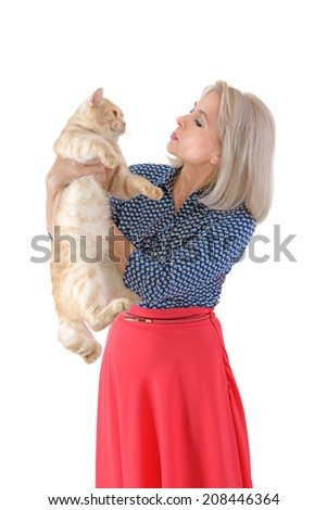 Blonde and red cat on the white background - stock photo