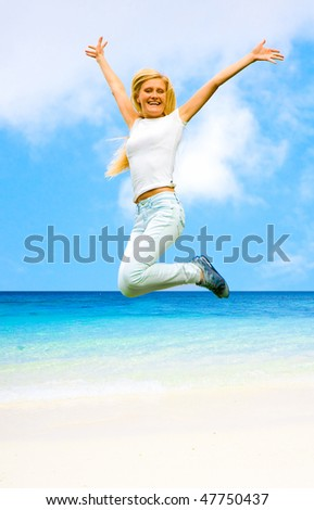 Blonde Angel in Paradise - stock photo