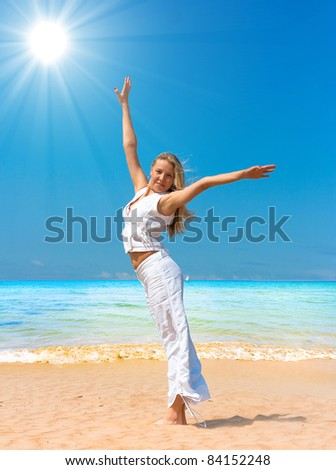 Blonde Beauty Ideal Vacation - stock photo