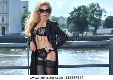 Blonde beauty posing in underwear - stock photo