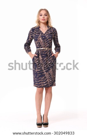 blonde business woman in official modern dress isolated on white