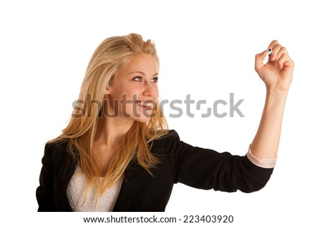 blonde business woman with blue eyes, writes on a glass table with marker presenting business opportunities - stock photo