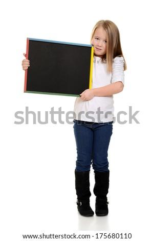 blonde child holding chalkboard - stock photo