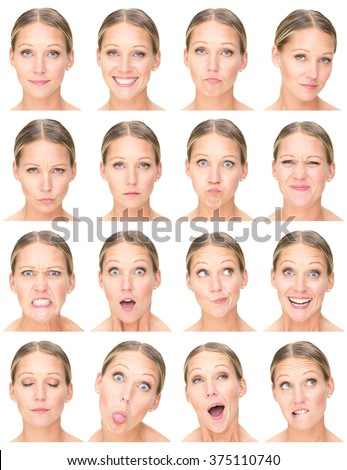 blonde european adult caucasian woman collection set of face expression like happy, sad, angry, surprise, yawn isolated on white - stock photo