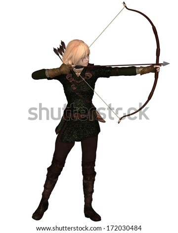 Blonde female archer with bow and arrow taking a standing shot, 3d digitally rendered illustration - stock photo