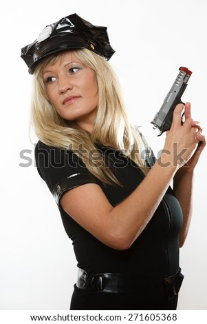 blonde female policewoman cop posing with gun handgun isolated on white background
