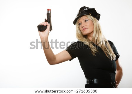 blonde female policewoman cop posing with gun handgun isolated on white background - stock photo