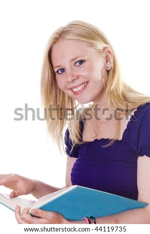 Blonde female student looking at camera