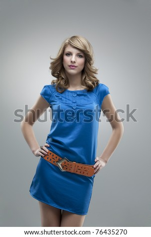 blonde girl blue dress pose glamorous - stock photo