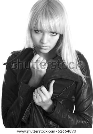 blonde girl in black leather jacket in white