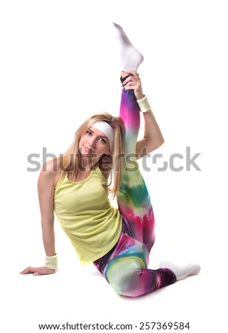blonde girl in bright clothes trains. fitness. Yoga. sport. health. correct way of life. - stock photo