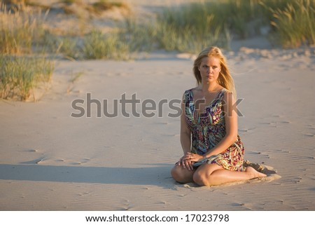 blonde girl in the beach