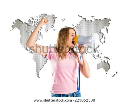 Blonde girl shouting with a megaphone over atlas background  - stock photo