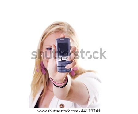 Blonde girl showing her mobile display. Copyspace for your own text.