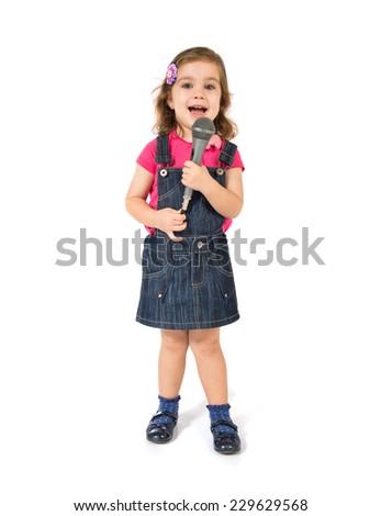 Blonde girl singing over white background - stock photo