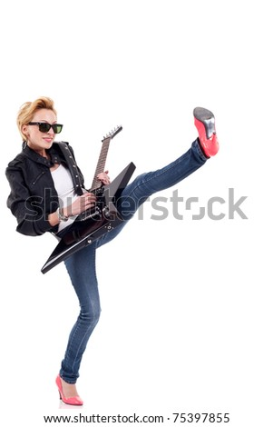 blonde girl wearing leather jacket with a guitar and a leg up - stock photo