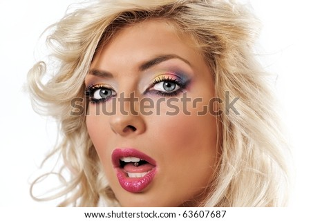 blonde girl with colorfull makeup