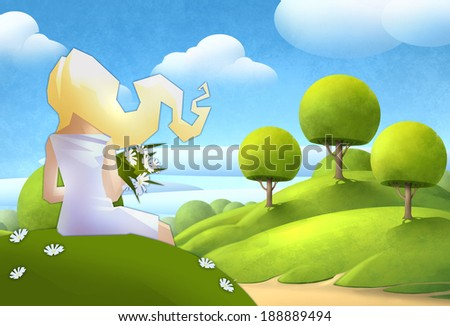 Blonde girl with flowers in her hands sitting on the green hill