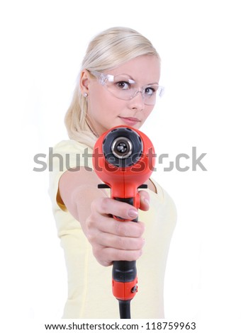 blonde girl with goggles and drill, isolated on white