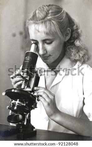 blonde girl with the microscope - photo scan - about 1955
