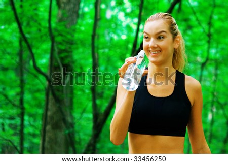 Blonde haired woman exercising, from a complete series of photos.