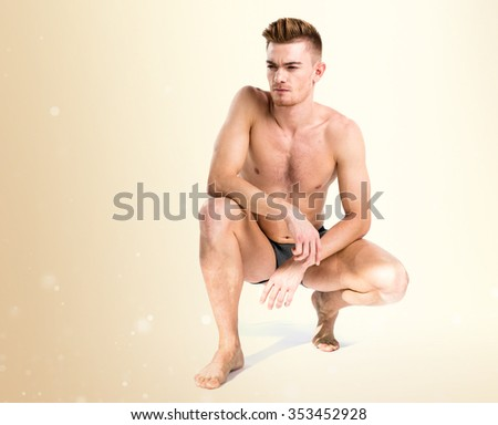 Blonde man in underwear