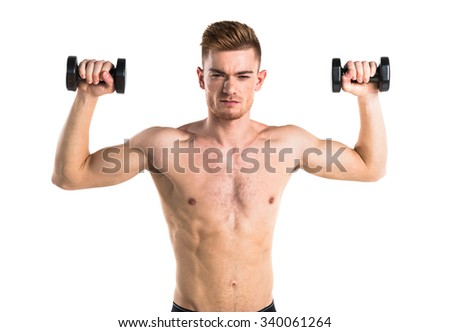 Blonde man in underwear doing weightlifting