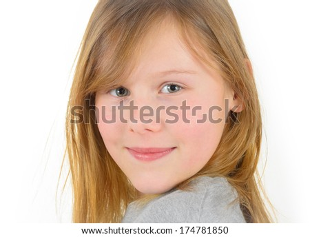 blonde school age girl with smile