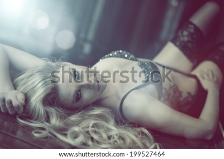 blonde seductive - stock photo