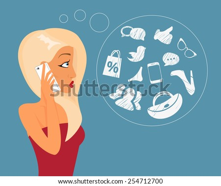 Blonde sensual girl is talking via phone with hand drawn bubble of shopping, sale, social networks. - stock photo