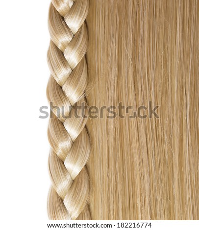 Blonde Straight Hair and Braid or Plait isolated on white. Hair Care. Hair Salon - stock photo