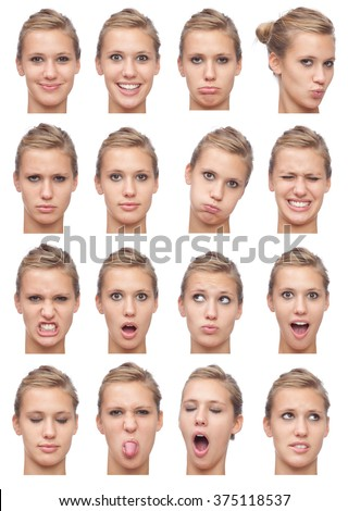 blonde straight hair young caucasian woman collection set of face expression like happy, sad, angry, surprise, yawn isolated on white