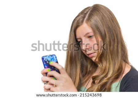 Blonde teenage girl calling with mobile phone - stock photo