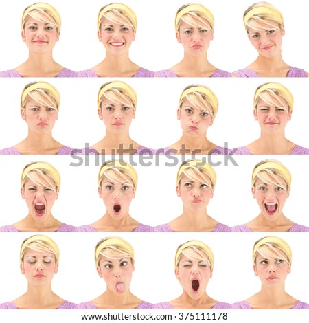 blonde vintage hawaii 70s young caucasian woman collection set of face expression like happy, sad, angry, surprise, yawn isolated on white - stock photo