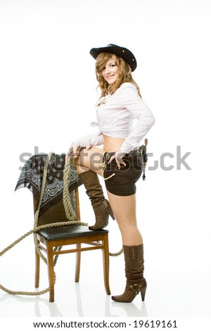 Blonde with a rope - stock photo