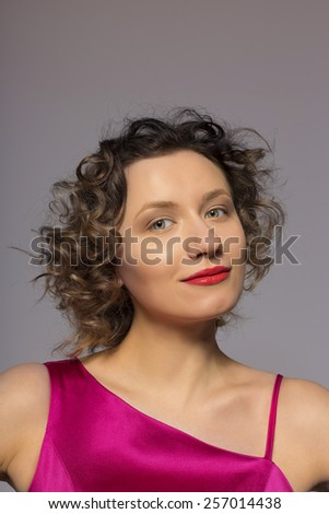 blonde with curly hair - stock photo