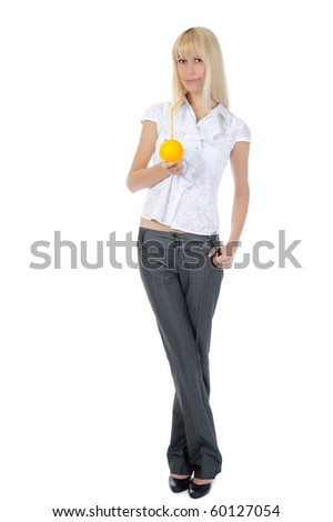 Blonde with orange drink. Isolated on white background - stock photo