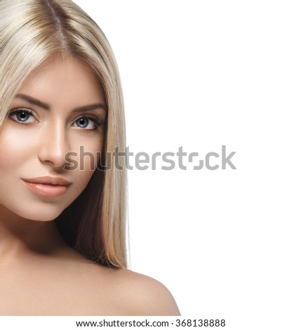 Blonde woman beauty portrait close-up isolated on white