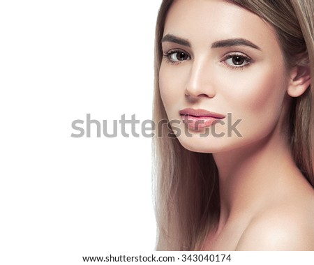 Blonde woman beauty portrait face looking camera isolated on white  - stock photo
