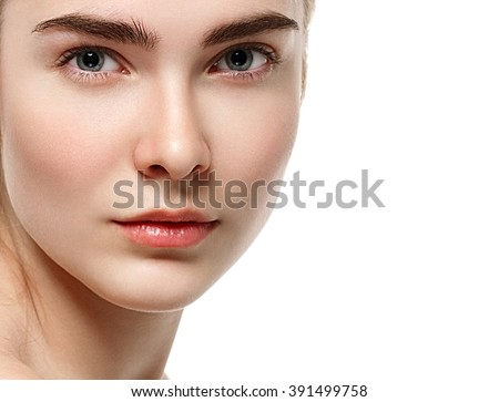 Blonde woman eyes lips nose beauty portrait close-up isolated on white - stock photo