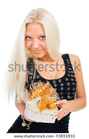 Blonde woman holding gift box over white background