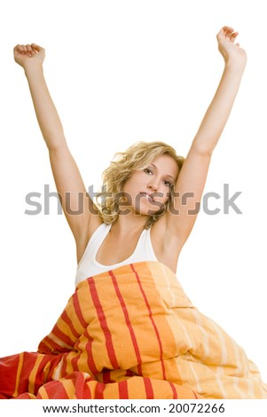 Blonde woman in bed - stock photo