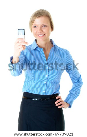blonde woman in blue shirt takes photo with mobile phone, isolated on white - stock photo