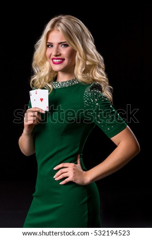 blonde woman in posing with cards