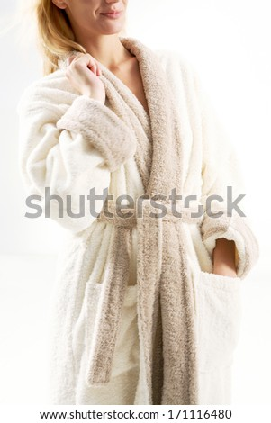 blonde woman in towel - stock photo