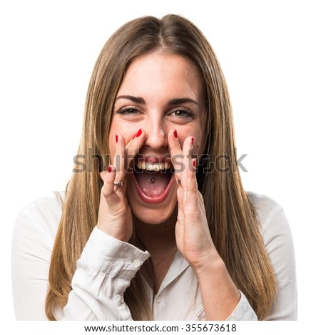 Blonde woman shouting