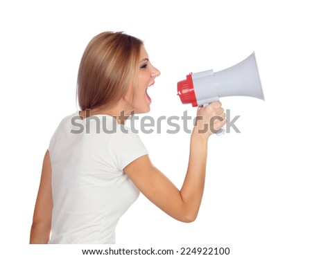 Blonde woman shouting with a megaphone isolated on a white background - stock photo