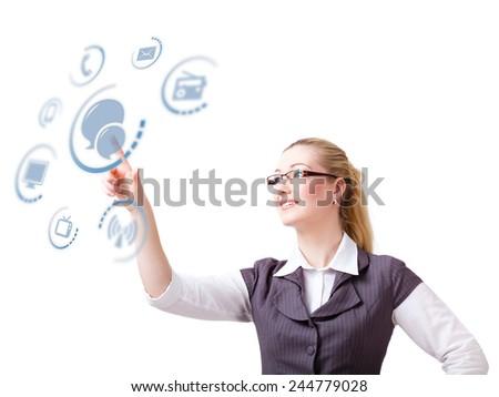 blonde woman touching a virtual chat symbol - stock photo